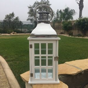 White Wooden Lantern with Chrome Roof